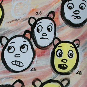 yellow white bears detail