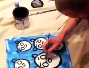 painting blue bears
