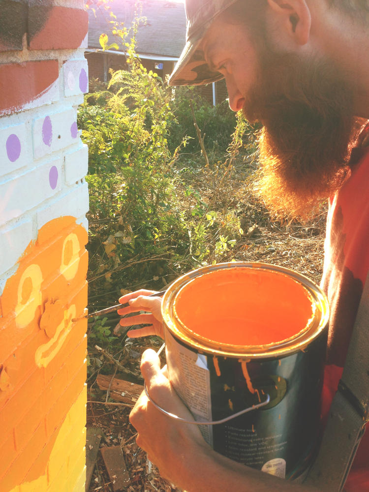 sproutmen mural in progress- blackcattips kyle brooks painting - photo by maria