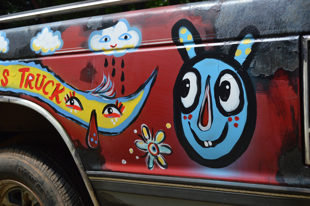 chevy S10 - folk art truck - 808 painted car blackcattips southern folk art alligator fayetteville bears happy