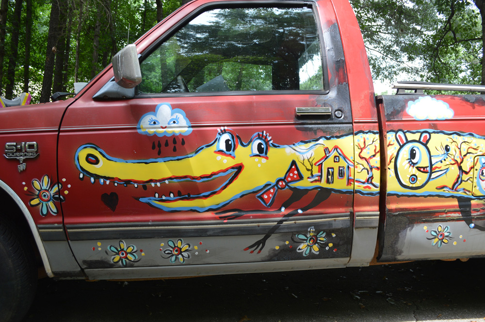 chevy S10 - folk art truck - 812 - painted car blackcattips southern folk art alligator fayetteville happy