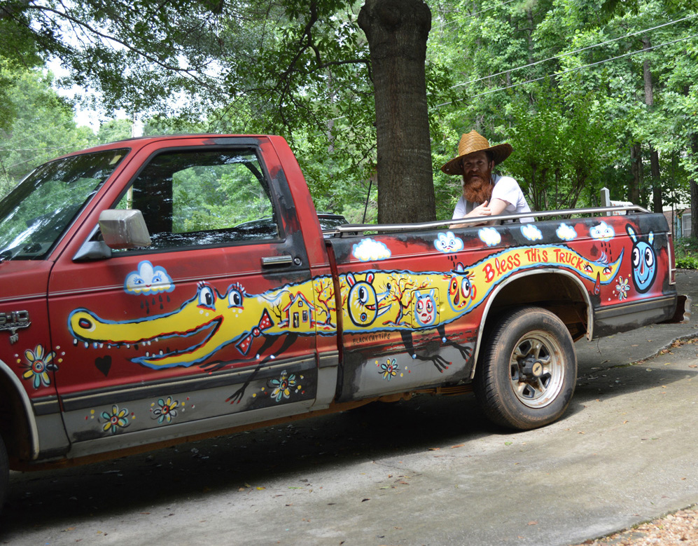 chevy S10 - folk art truck - 830 brooksboy  painted car blackcattips southern art alligator