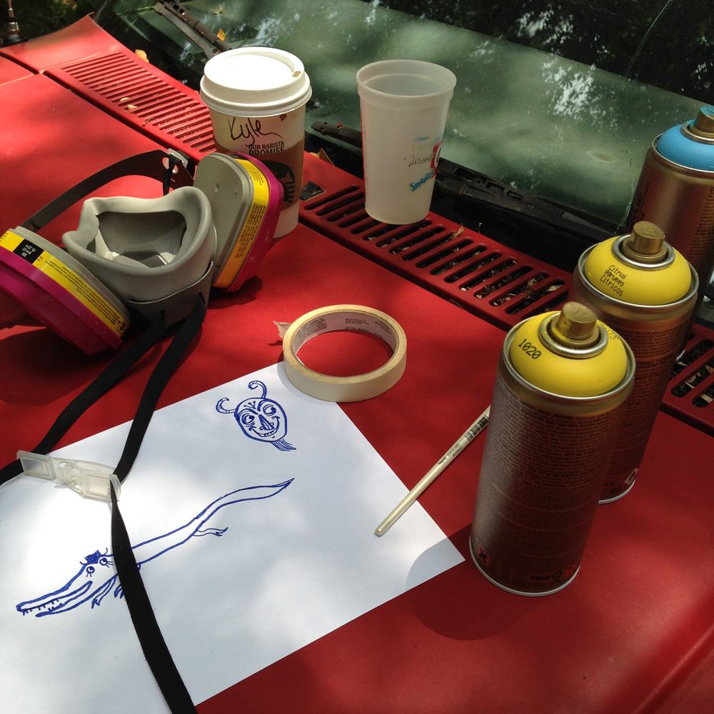 chevy S10 - folk art truck - 838 - montana paint cans and starbucks coffee on the hood