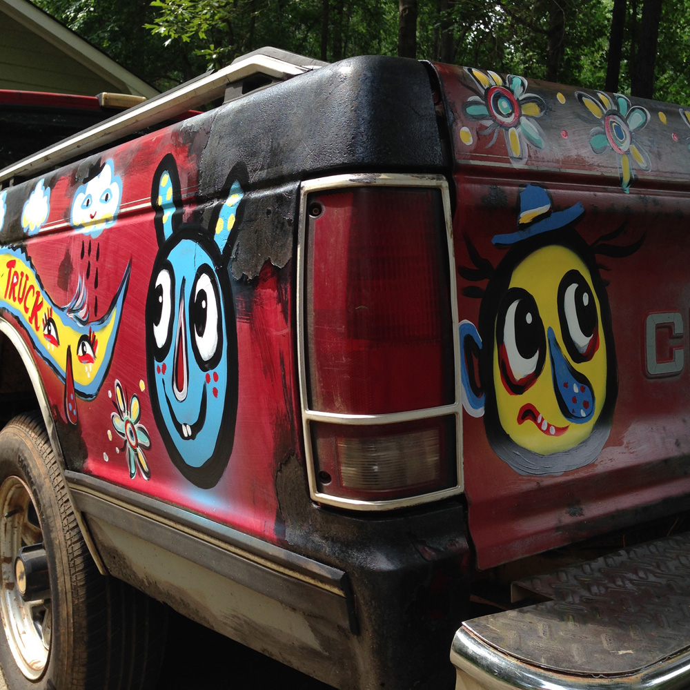 chevy S10 - folk art truck - 846 - painted car blackcattips southern folk art alligator fayetteville