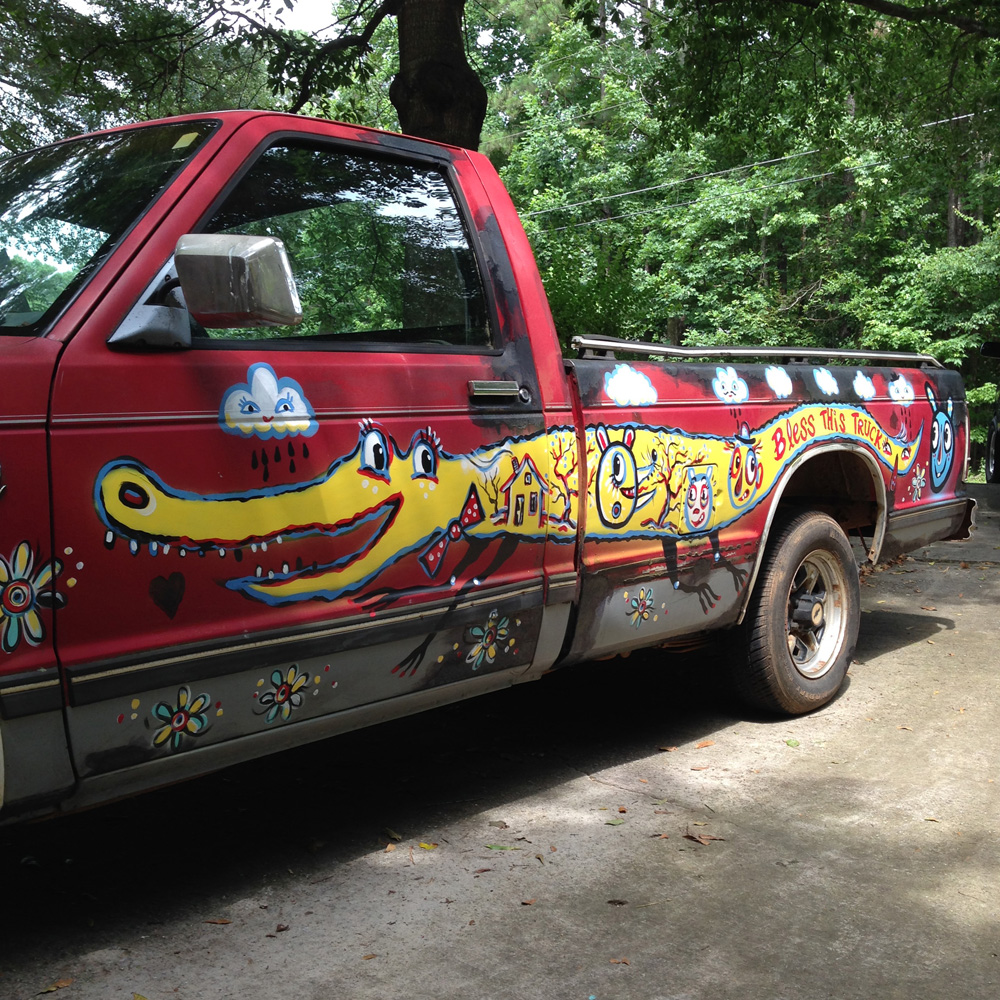 chevy S10 - folk art truck - 852 - painted car blackcattips southern folk art alligator fayetteville btooksboy