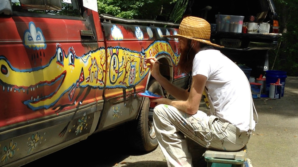 chevy S10 - folk art truck - 900 - brooksboy blackcattips painting southern streetfolk art