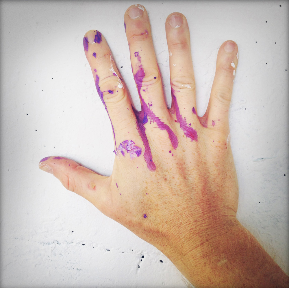 forward warrior 2015 - purple paint on my hand