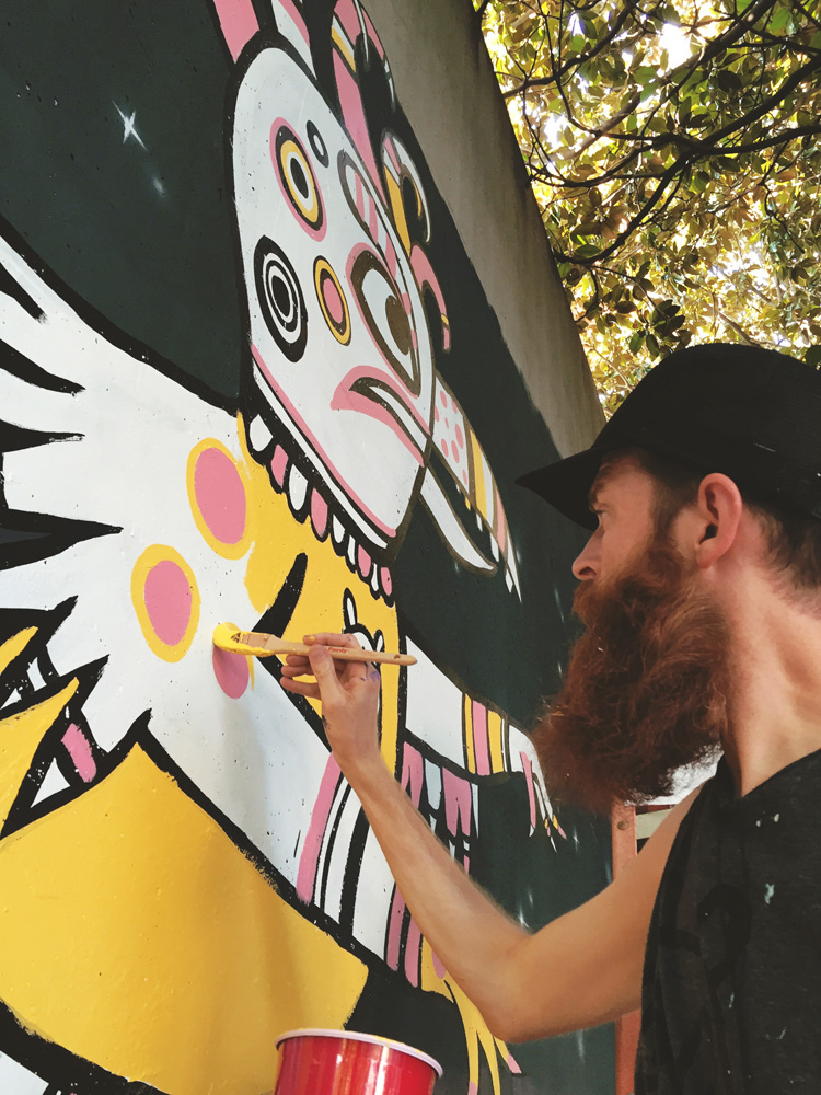 forward warrior 2015 - giant chicken man - blackcattips brooksboy painting mural