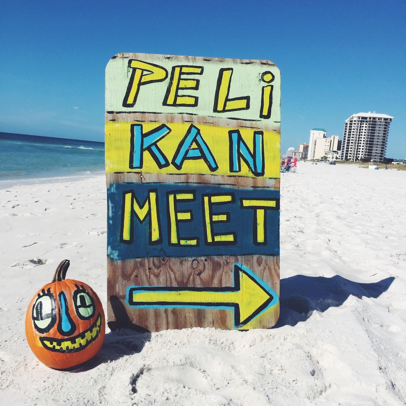 Blackcattips street folk art beach folk pelican painting