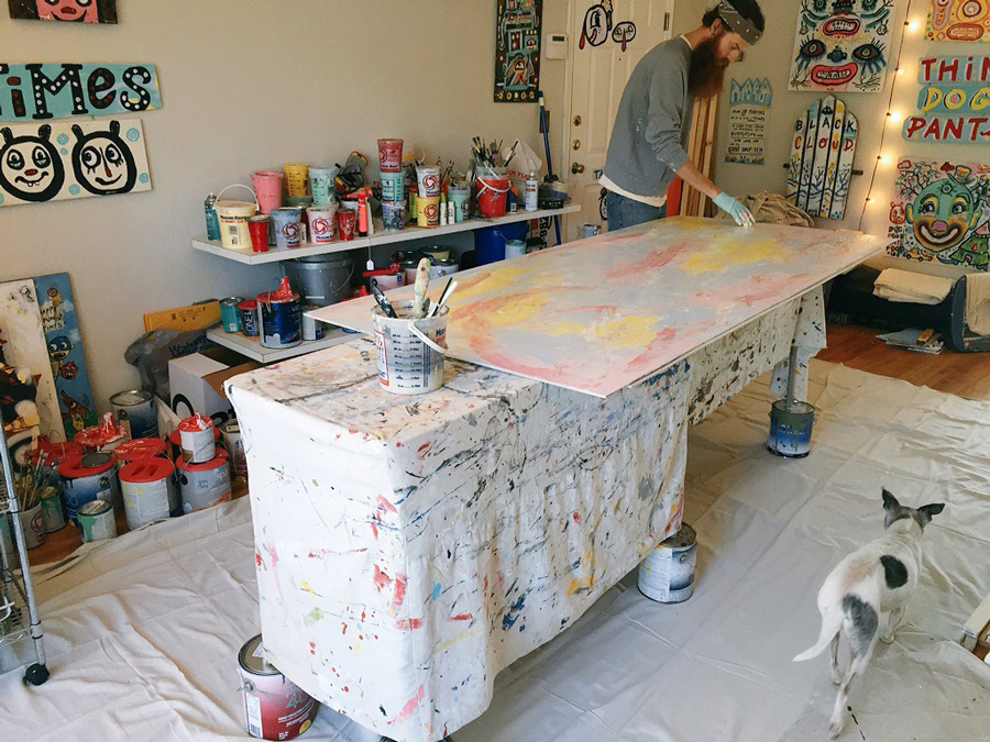 blackcattips-painting-in-studio-2-with-dog