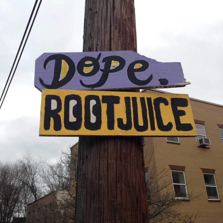 blackcattips street poems - streetfolk art - signs - dope rootjuice