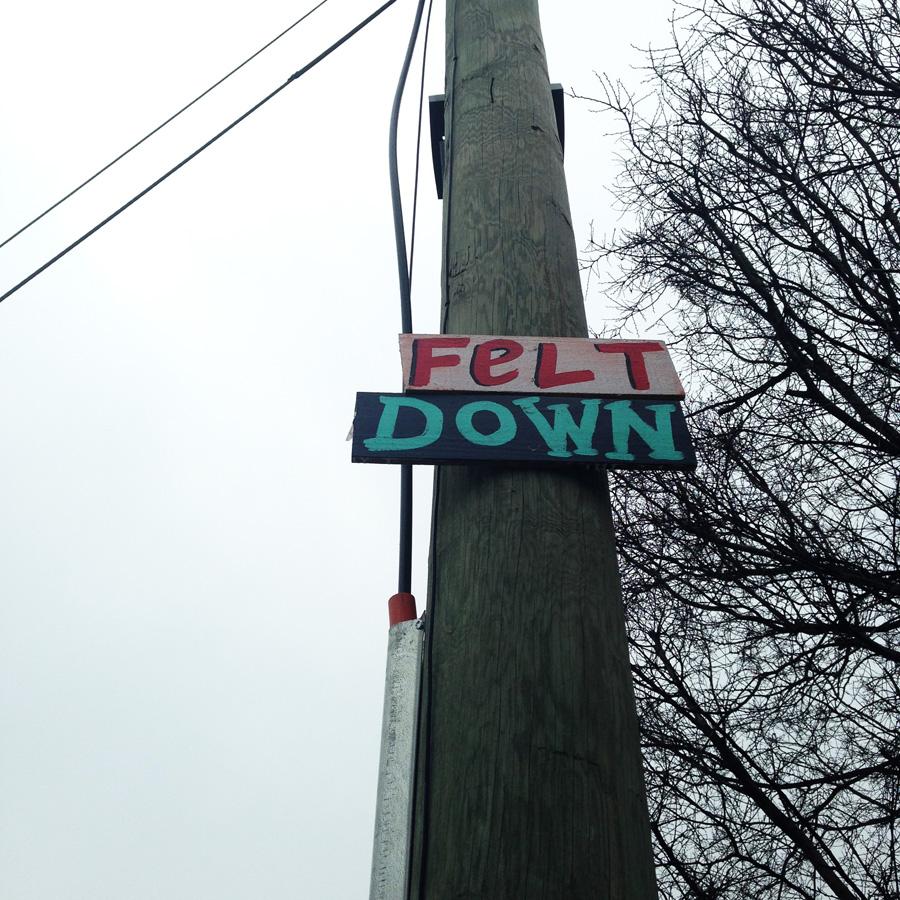 blackcattips street poems - streetfolk art - signs - felt down