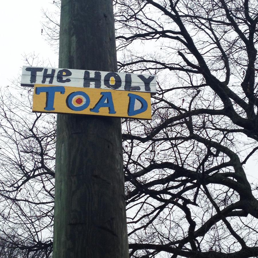 blackcattips street poems - streetfolk art - signs - holy toad