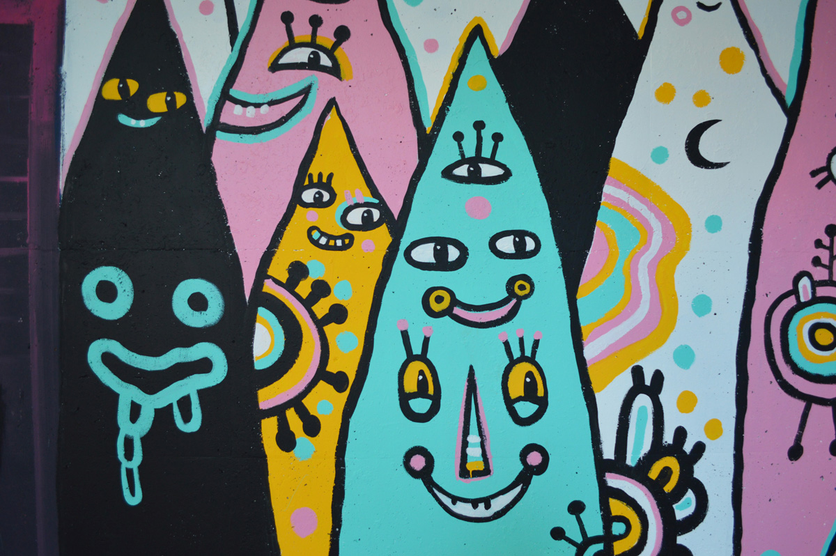 pointy people mural - blackcattips - street folk art smiles