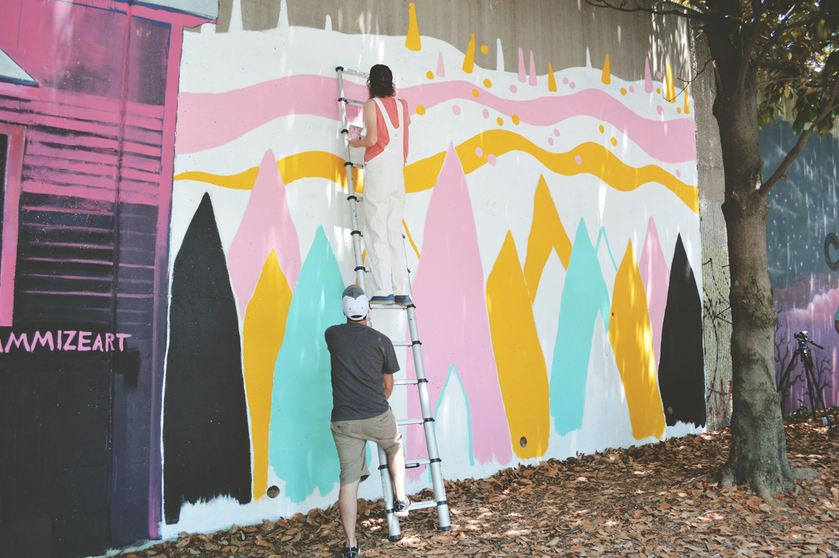 pointy people - blackcattips - mural painting in process atlanta