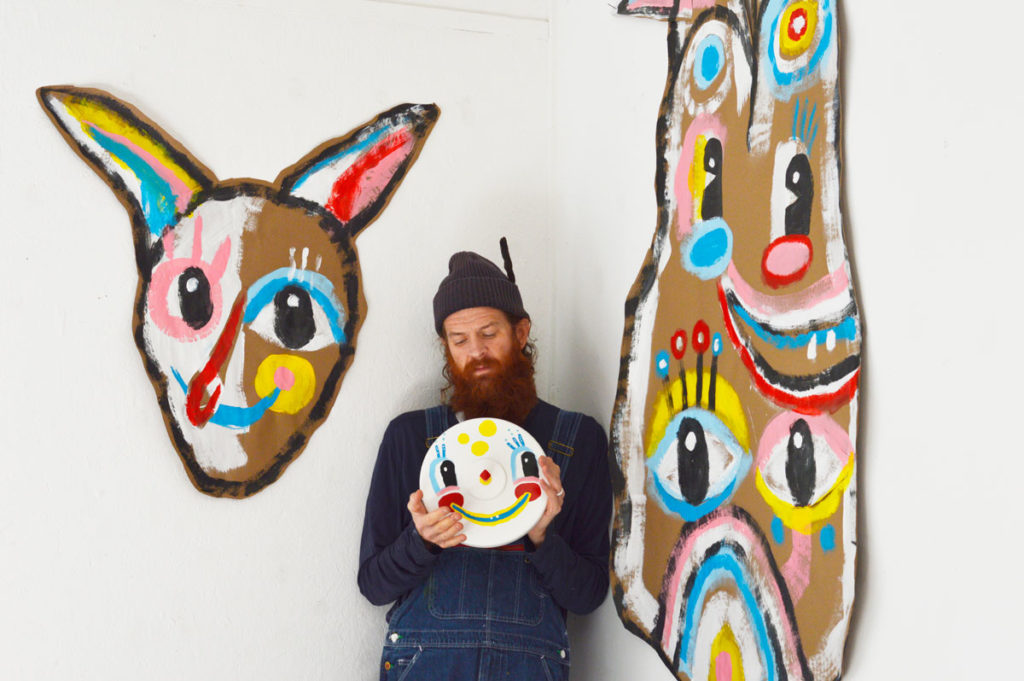 kyle blackcattips brooks with paintings at fisher studio at hambidge center
